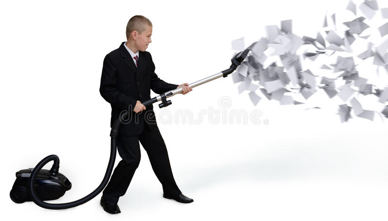 Businessman collects paper documents stock photo