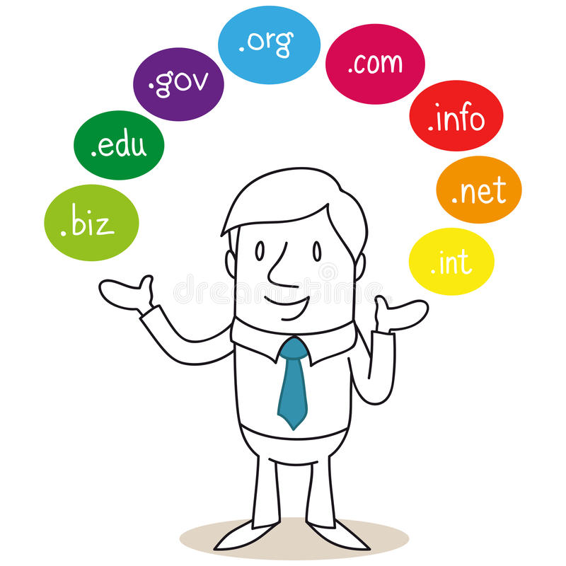 Businessman with colorful domain names stock illustration
