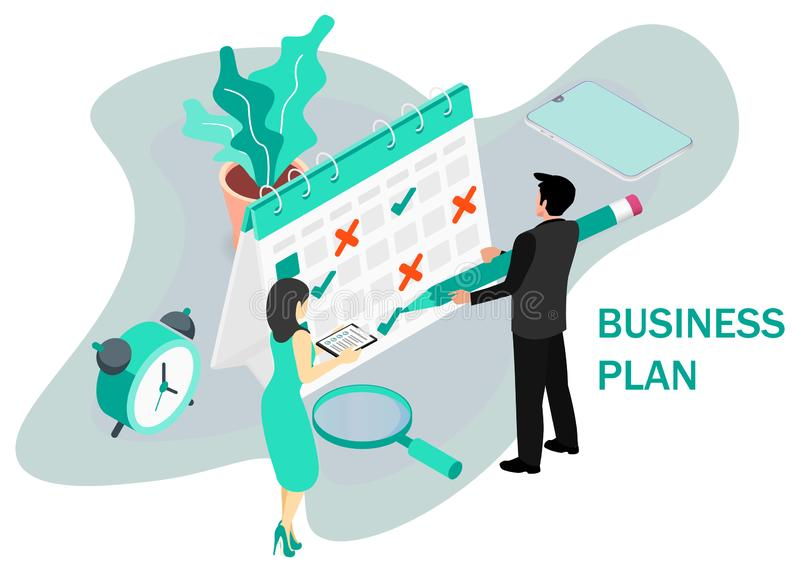 Businessman completes a calendar. Business Planning. Isometric projection. Modern style in green color. Vector illustration royalty free illustration
