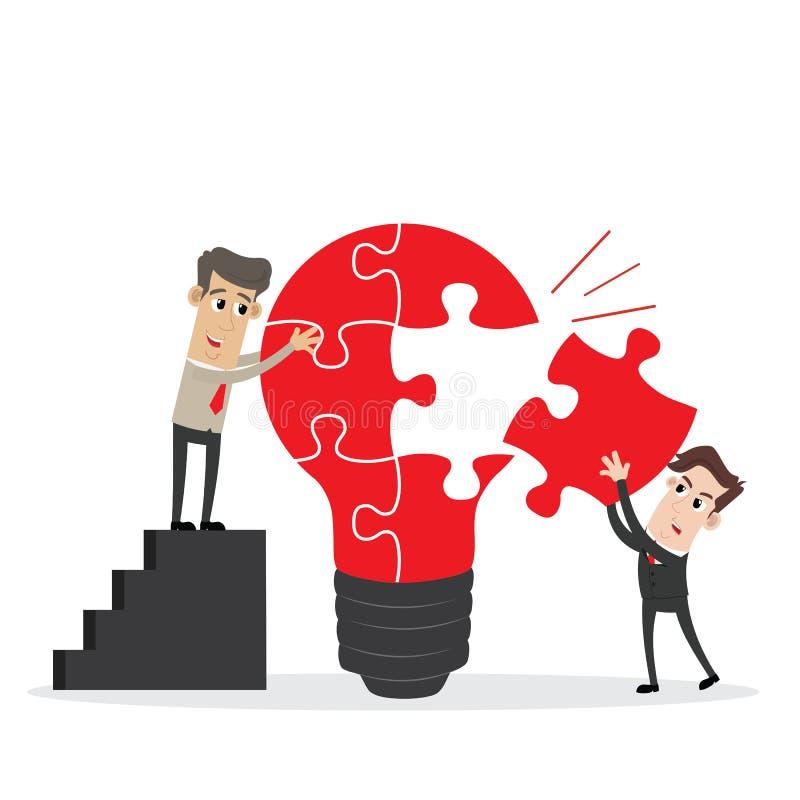 Businessman completing an idea light bulb puzzle stock illustration