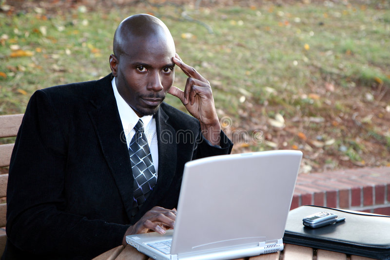 Download Businessman on Computer stock image. Image of american - 1417863