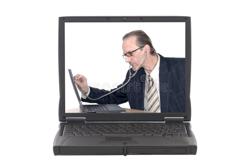 Businessman, computer doctor stock photos