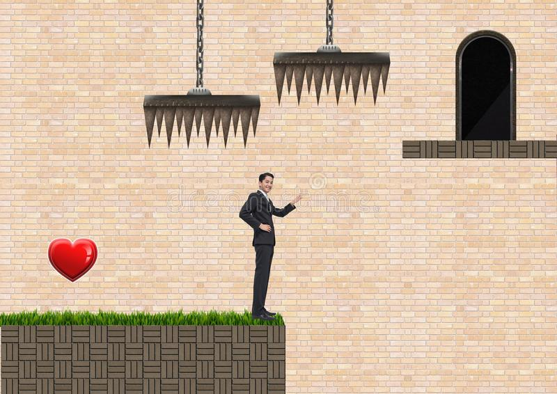 Businessman in Computer Game Level with heart and traps royalty free stock images