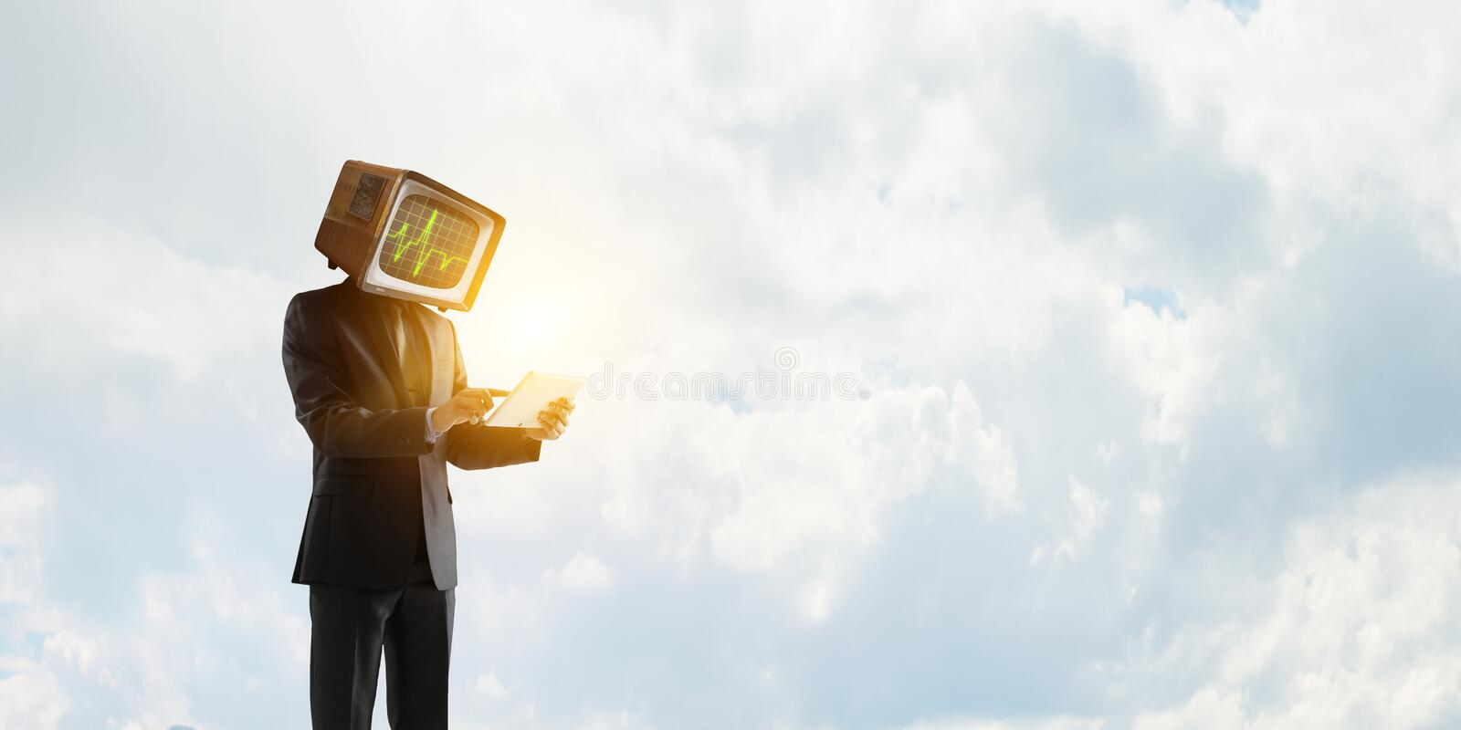 Businessman with computer head. Business efficiency concept. royalty free stock photography