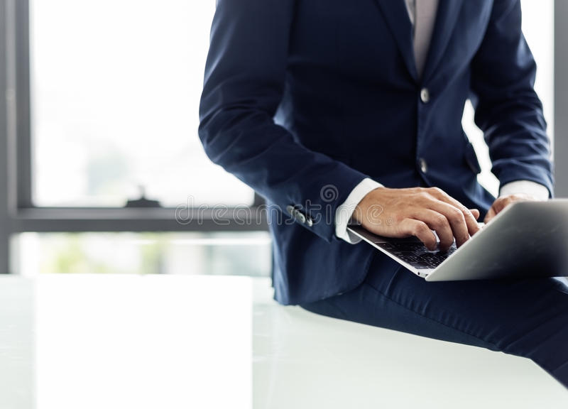 Businessman Computer Marketing Information Concept royalty free stock photography