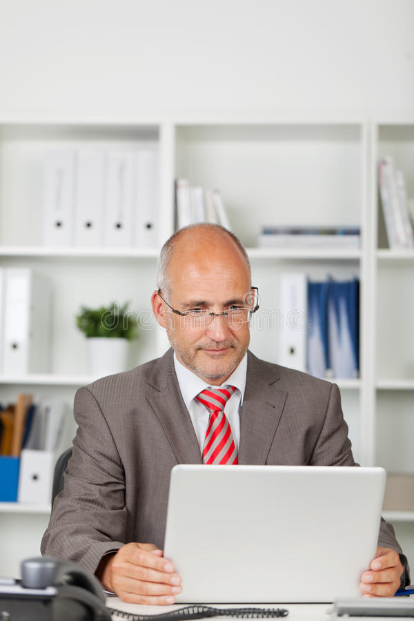 Businessman concentrated on his laptop. In the office stock image