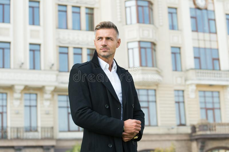 Businessman concept. Facial care and ageing. Traits and behaviors that make men more appealing. Attractive mature man royalty free stock images