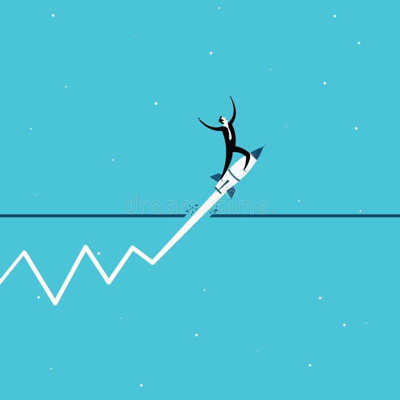 Businessman concept. flying up with a rocket. Vector illustration royalty free illustration
