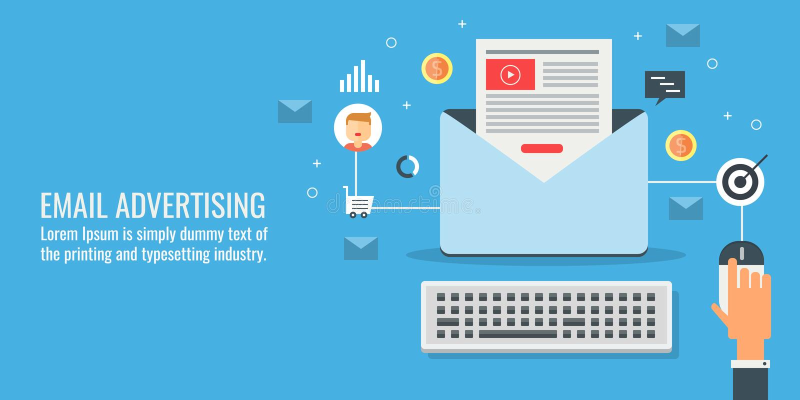 Businessman conducting an email marketing campaign, email advertising and promotion concept. Flat design vector banner. Email advertising campaign, newsletter stock illustration