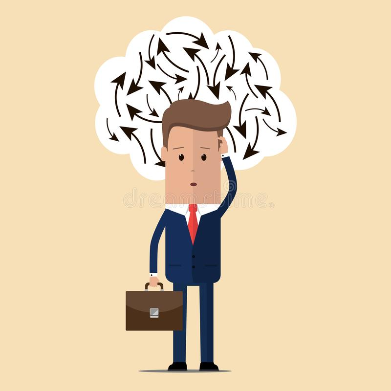 Businessman confuse of thinking and manage. Businessman who has to make a decision. Vector illustration.  royalty free illustration