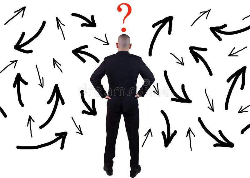 Businessman Confuse to Choose Direction royalty free stock photos
