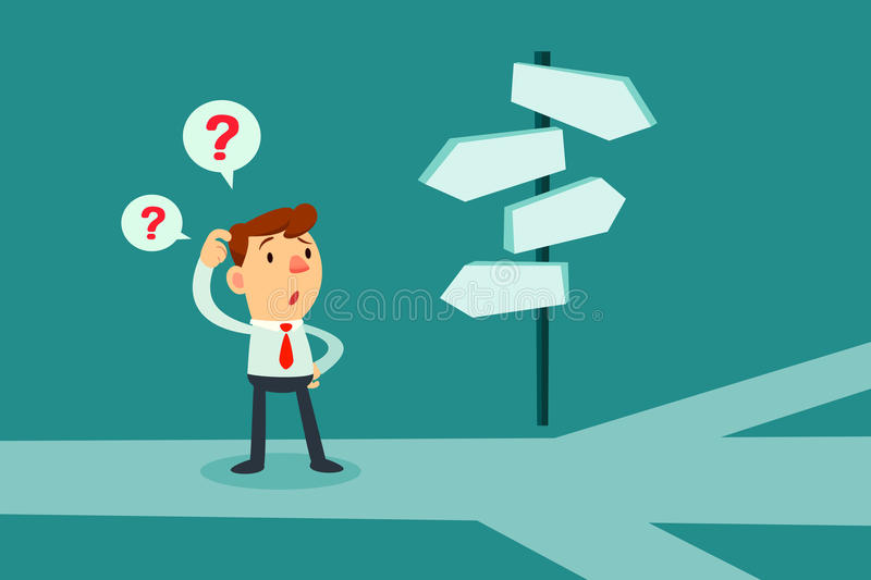 businessman confused by direction signs stock vector