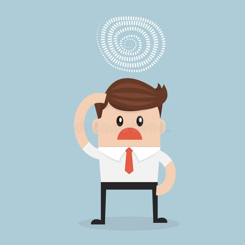 Businessman confused with the idea to solve the problem. royalty free illustration
