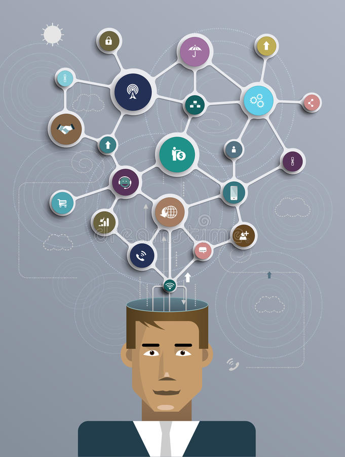 Businessman connect with social network communication royalty free illustration