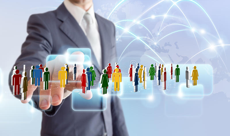 Businessman connect to social network stock photography