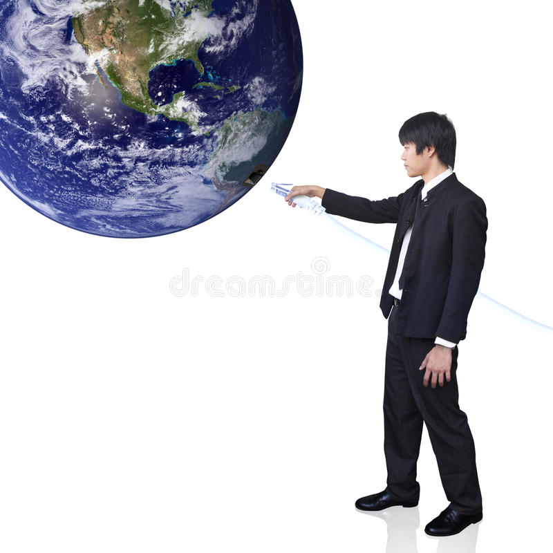 Free Businessman Connect World (Earth View Image From H Stock Photography - 22152692