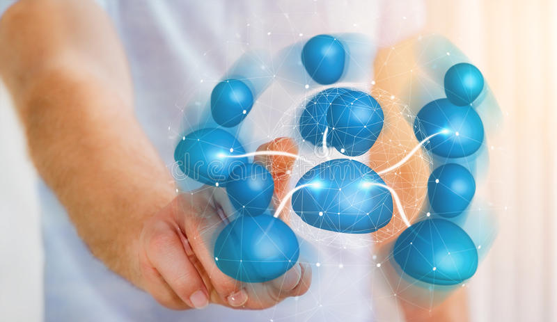 Businessman connecting blue icon social network 3D rendering royalty free illustration