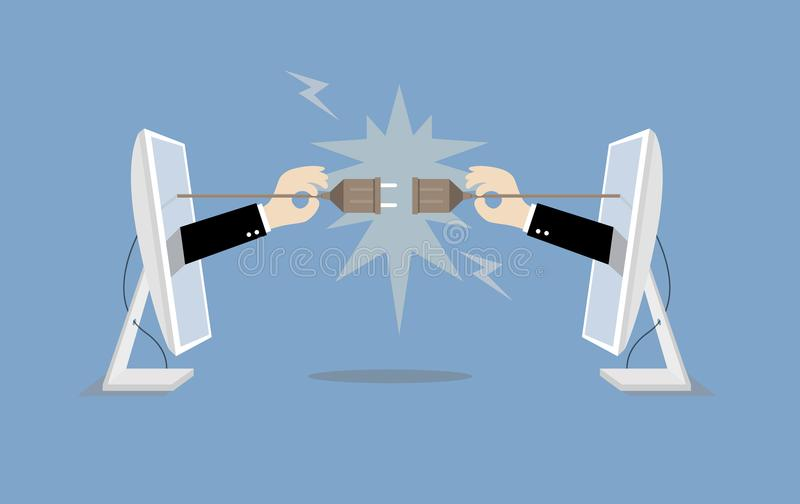 Businessman connecting hold plug and outlet from computer vector illustration