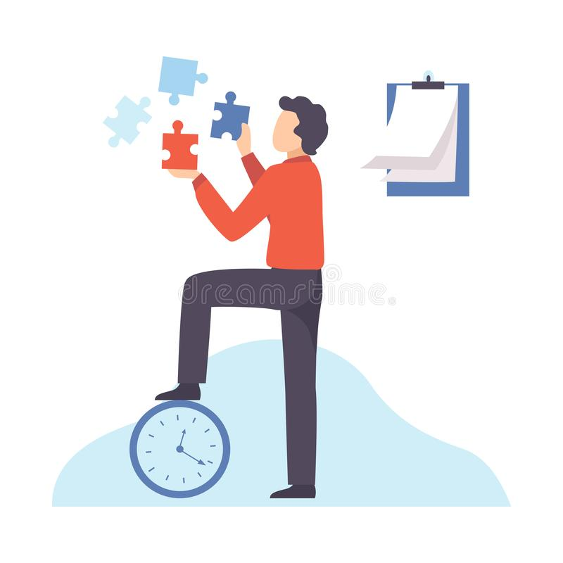 Businessman Connecting Puzzle Elements, Organization and Control of Working Time, Efficient Time Management Business vector illustration