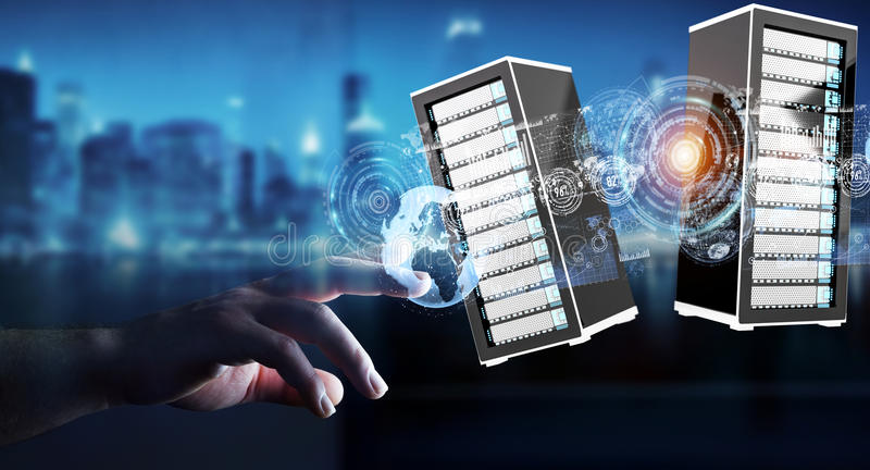Businessman connecting servers room data center 3D rendering royalty free illustration