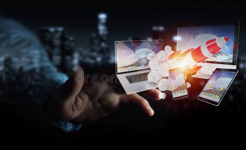 Businessman connecting tech devices and startup rocket 3D render royalty free illustration