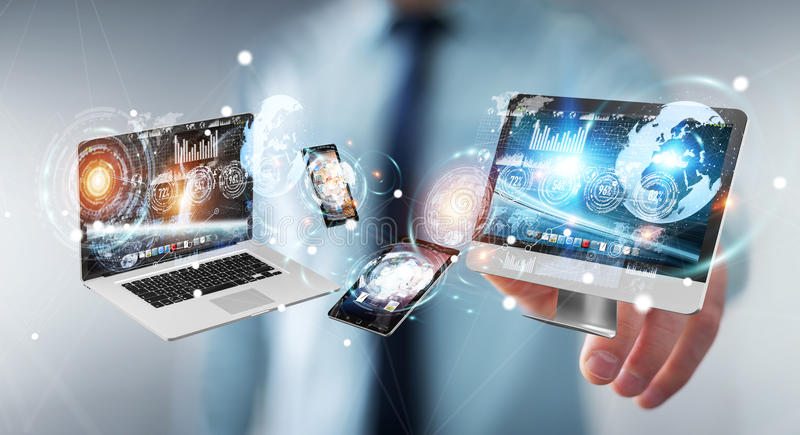 Businessman connecting tech devices to each other 3D rendering royalty free illustration