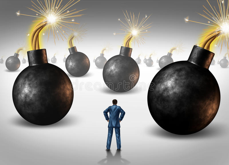 Businessman conquering adversity royalty free illustration