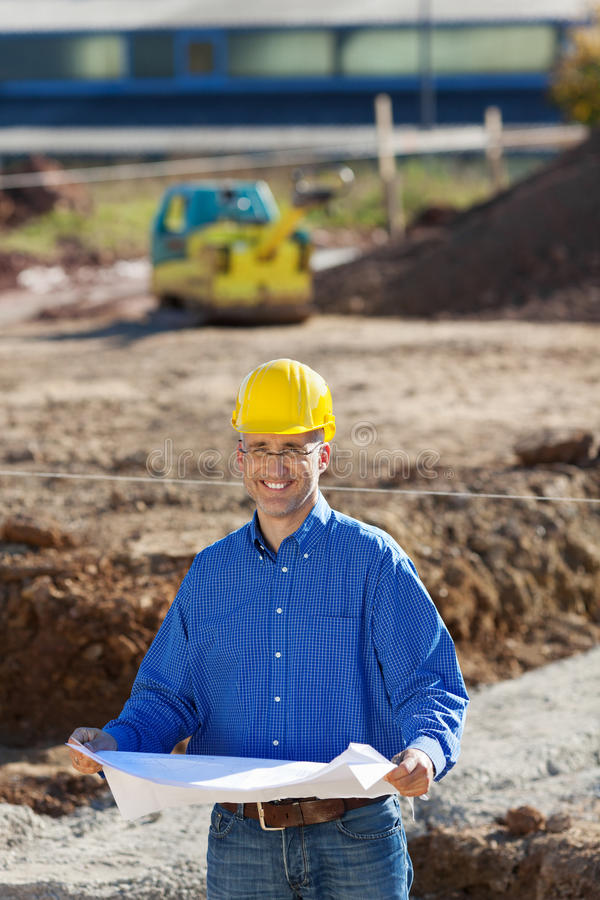 Businessman At Construction Site stock photo