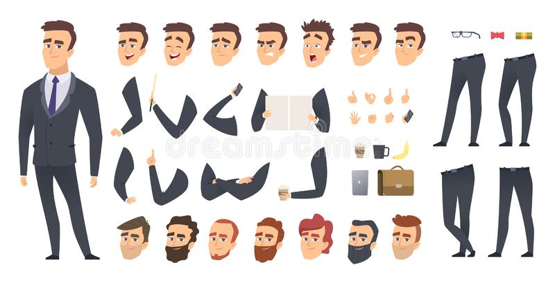 Businessman constructor. Coworkers manager or business person people keyframes animation character vector creation kit. Businessman character, creation stock illustration
