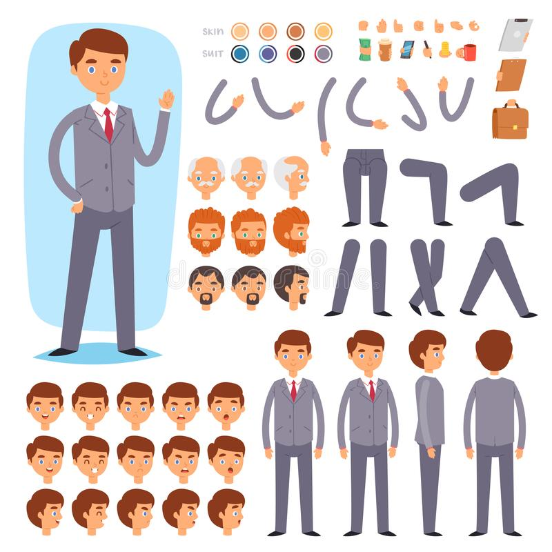 Businessman constructor vector creation of male character with manlike head and face emotions illustration set of mans stock illustration