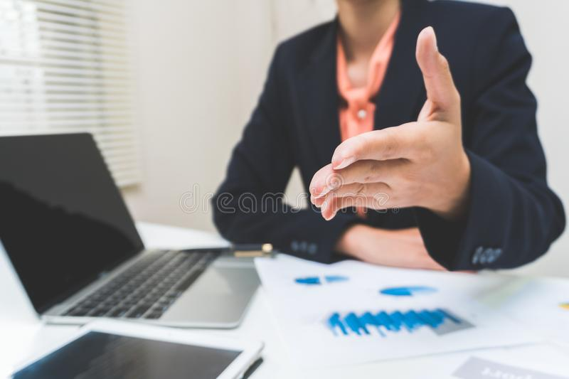 Businessman consult having team meeting discussing new plan financial. Graph data on office table with laptop and digital tablet, Finance, accounting royalty free stock photography