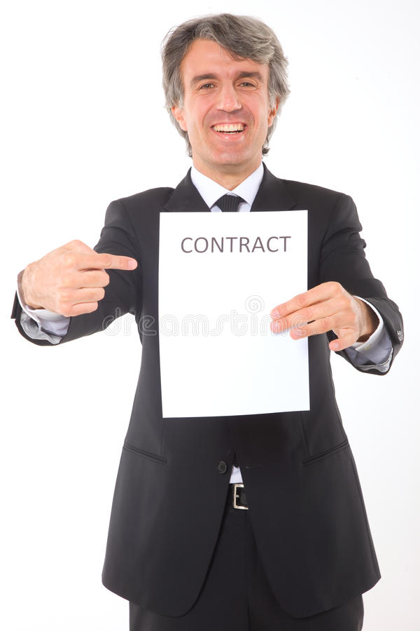Businessman with contract. In white background royalty free stock photos