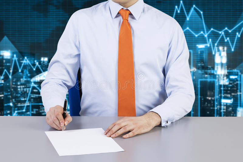Businessman and contract signing process. stock image