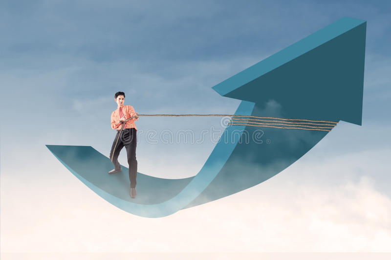 Download Businessman Control Arrow With Chain On Blue Sky Stock Illustration - Image: 30584670