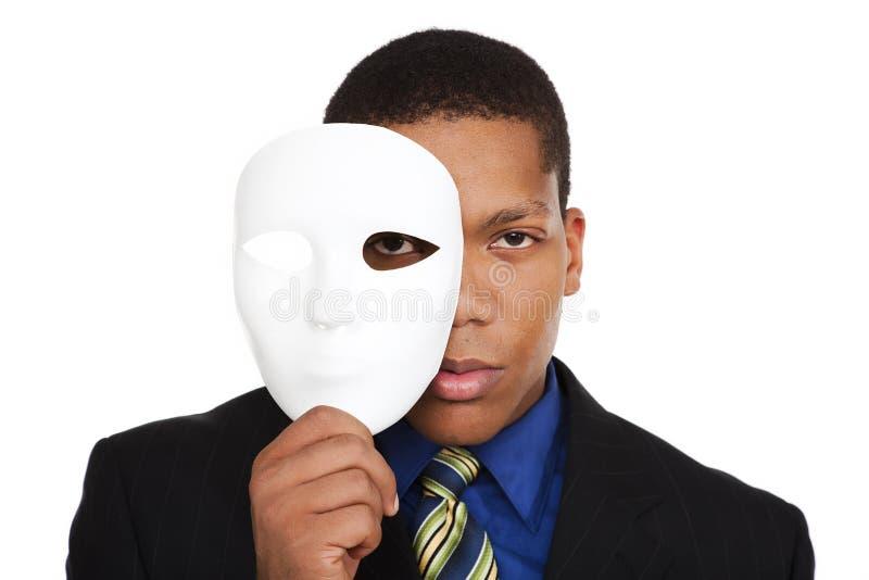 Businessman - costume mask stock images