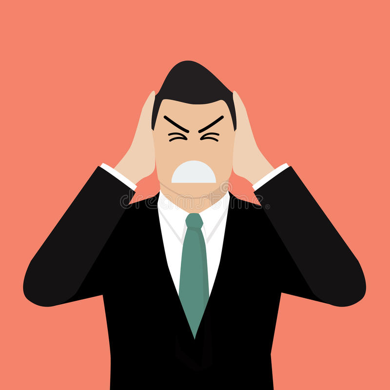 Businessman covering his ears with his hands vector illustration