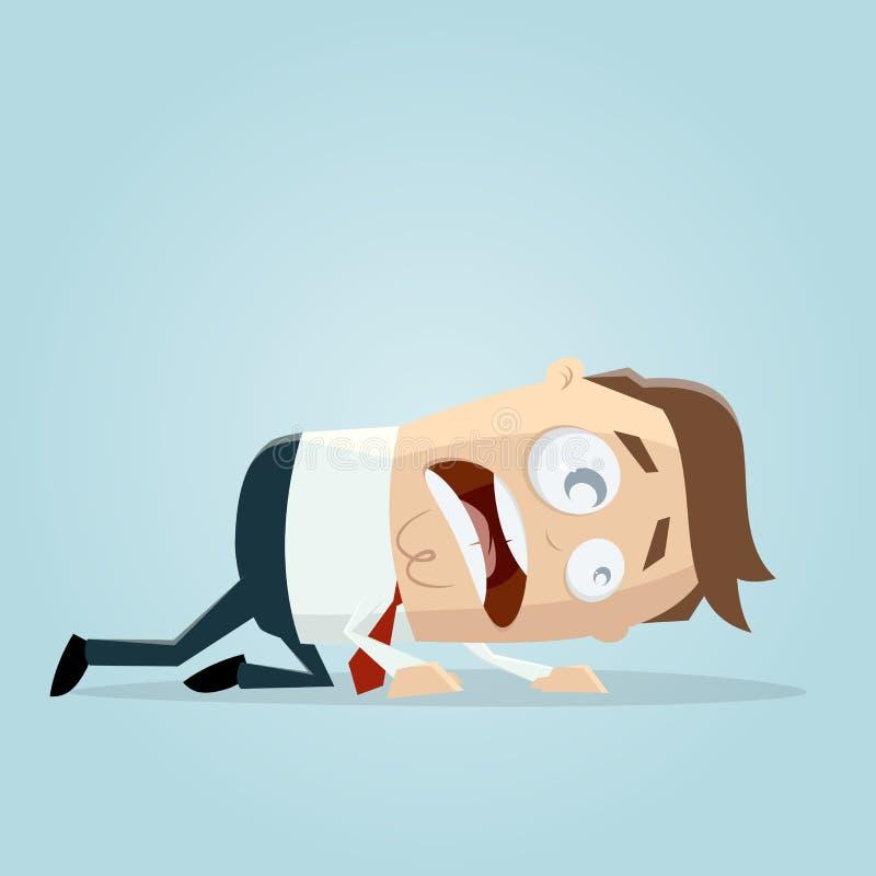Businessman crawling on the floor vector illustration