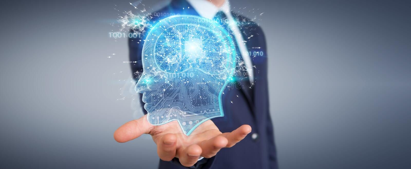 Businessman creating artificial intelligence 3D rendering stock illustration