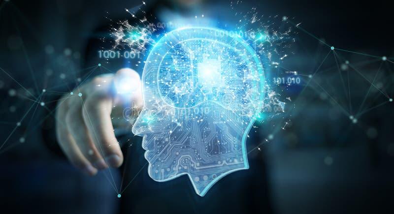 Businessman creating artificial intelligence 3D rendering vector illustration