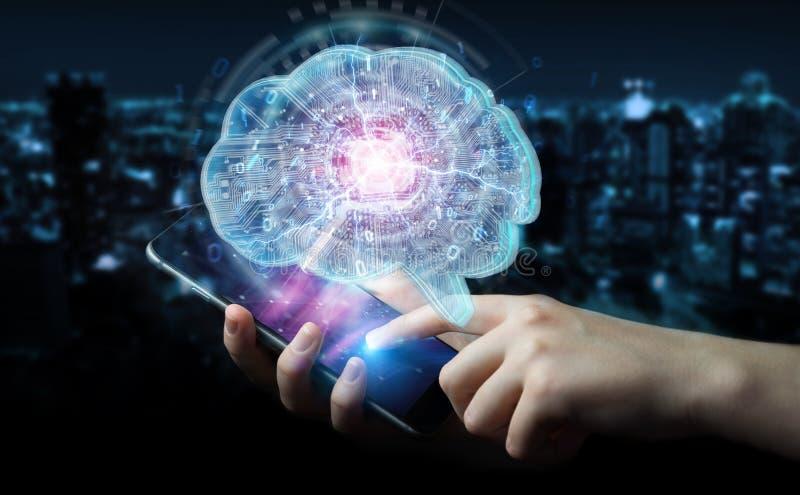 Businessman creating artificial intelligence in a digital brain 3D rendering royalty free illustration