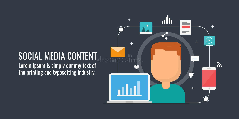 Content marketing, digital content publication on social network, web content, social media campaign. Flat design vector banner. Businessman creating digital royalty free illustration