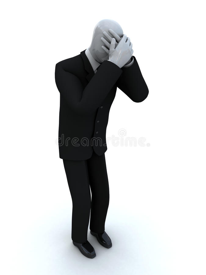 Businessman cries having shut the face with the ha royalty free stock photography