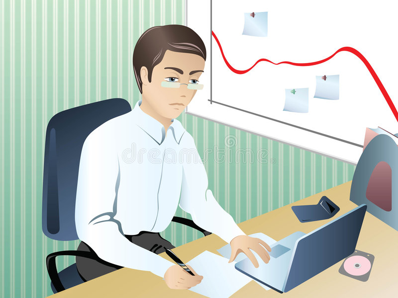 Businessman_in_crisis stock illustration