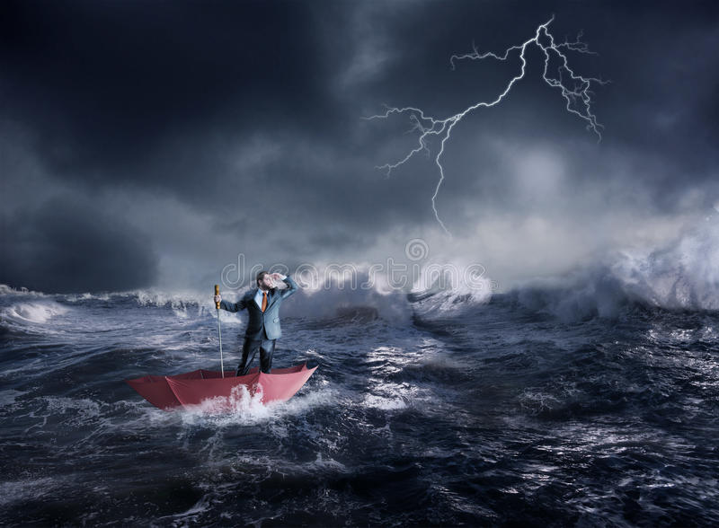 Businessman in crisis stock photography