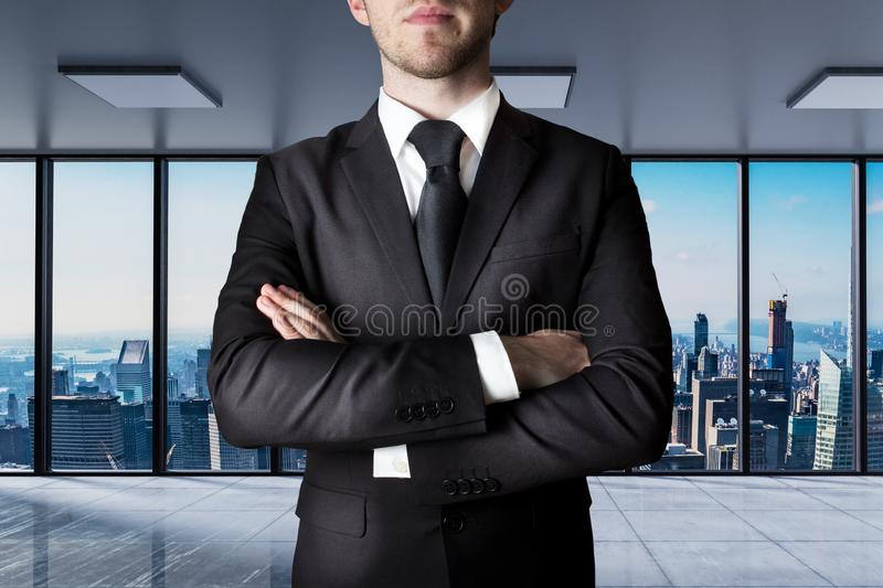Businessman crossed arms in large modern office with skyline view 3D Illustration royalty free stock image