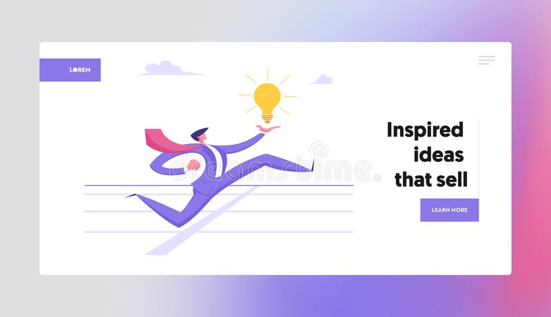 Businessman Crossing Finish Track Line Website Landing Page. Business Man Run on Stadium. Holding Glowing Light Bulb in Hand. Leadership, Creative Idea Web Page stock illustration