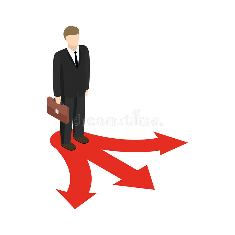 Businessman at crossroad icon, isometric 3d style. Businessman at crossroad icon in isometric 3d style on white background stock illustration