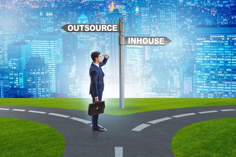 Businessman at crossroads deciding between outsourcing and inhou stock image