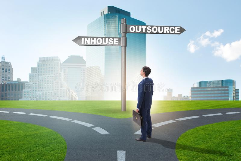 Businessman at crossroads deciding between outsourcing and inhou stock photos