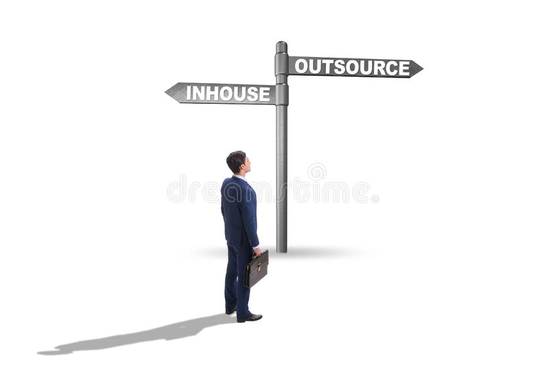Businessman at crossroads deciding between outsourcing and inhou royalty free stock photos